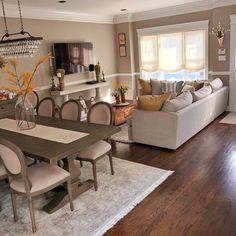 Living Room Decor Cozy, Home Living Room, Apartment Living, Living Room Furniture, Taupe Living Room, Small Living Dining, Living Dining Combo, Small Living Rooms, Cuisines Design