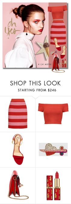 """""""Served With Ice Cream 👅"""" by jacque-reid ❤ liked on Polyvore featuring Boutique Moschino, Alice + Olivia, Charlotte Olympia, Gucci, J.W. Anderson, CharlotteOlympia, aliceandolivia, gucci, LOREAL and jwanderson"""