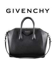 "Givenchy's ""Antigona"" Bag. (On other Hardwares, refer on your own Research).  ""Shiny Lord Bag"" Leather polished to perfection amplifies the defined geometric shape of the Givenchy Antigona bag. Black leather with golden hardware. Tote handles; adjustable crossbody strap. Zip top; metal logo letters adorn triangular leather inset at top. Inside, tonal fabric lining; one zip pocket and two open pockets. 12 1/4""H x 13 1/4""W x 7 1/2""D. Tonal leather panels protect base of bag. Made in Italy. ;)"
