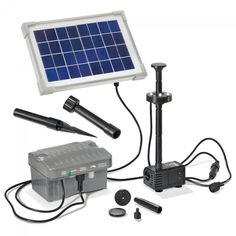 Solar Teichpumepnset  PALERMO LED BELEUCHTUNG + AKKU TEICHPUMPE
