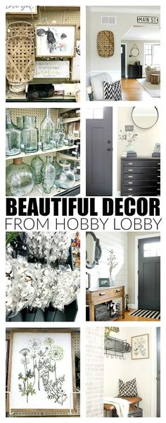 Beautiful decor and decorated spaces using items found at Hobby Lobby!