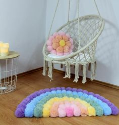Rainbow Room, Rainbow Nursery, Pompom Rug, Diy Pom Pom Rug, Diy For Kids, Crafts For Kids, Pom Pom Crafts, Rainbow Decorations, Ideias Diy