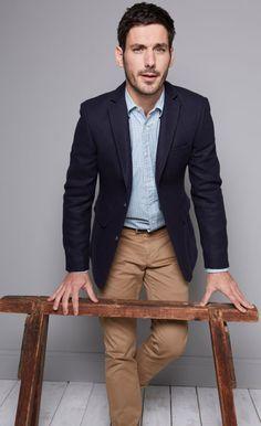 navy blazer. light blue chambray shirt. khaki pants. light brown belt. casual. my. style.