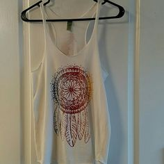 Tank top Creme racer back tank with dream catcher design Tops Tees - Short Sleeve