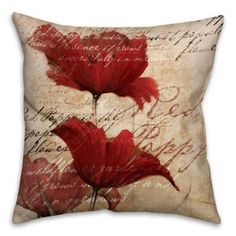 """16/"""" CUSHION COVER RED PURPLE GREY POPPY POPPIES NEW HOMEMADE"""