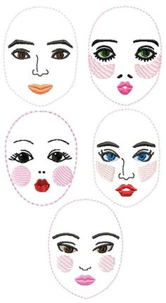 Advanced Embroidery Designs - Rag Doll Face Set
