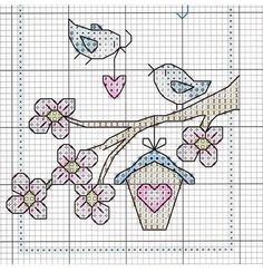 Ideas For Embroidery Patterns Birds Punto Croce Just Cross Stitch, Cross Stitch Bookmarks, Cross Stitch Cards, Cross Stitch Flowers, Cross Stitch Kits, Cross Stitch Designs, Cross Stitching, Cross Stitch Embroidery, Embroidery Patterns