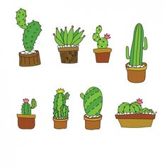 Cute cactus collection in flat design Free Vector Green Leaf Background, Tropical Background, Cactus Drawing, Plant Drawing, Overlays Instagram, Leaves Doodle, Design Plano, Plant Logos, Rock Flowers