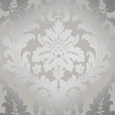 I Love Wallpaper™ Shimmer Metallic Grande Damask Wallpaper Soft Grey / Silver (ILW261539) - I Love Wallpaper™ from I love wallpaper UK