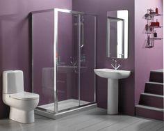 Nice Bathroom Design with Glass Shower Stall in Purple Wall Color, purple bathroom design, small bathroom designs with shower stall, bathroom color ideas, best bathroom design ideas and photos Small Bathroom Colors, Purple Bathrooms, Bathroom Color Schemes, Bathroom Paint Colors, Bathroom Wall Decor, Simple Bathroom, Bathroom Interior Design, Bathroom Ideas, Bathroom Designs