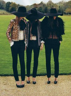 Stephanie Hall, Rosie Tapner and Charlotte Wiggins all in Saint Laurent photographed by Angelo Pennetta