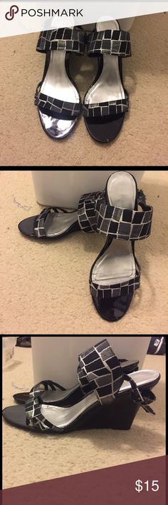 Black, Silver Wedges Size 11. Super comfortable Ann Marino Shoes Wedges