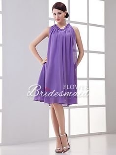 Lavender Short Plus Size Chiffon Jewel Sleeveless Bridesmaid Dress - US$85.99 - Style B0719 - Flower Bridesmaid