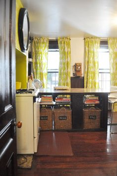 Freestanding kitchen from eclectic furniture & various wall storage. Like sofa tables, dressers, wardrobes, plate racks, picture rails, and S-hook storage rails. Sofia's DIY Garden Apartment in Brooklyn
