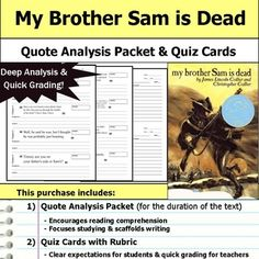 A perfect tool for scaffolding deeper understanding and analysis for My Brother Sam is Dead! This is my go-to tool for helping students process key details and providing regular reading quizzes without drowning myself in grading.