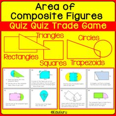 Composite Figures Area Quiz Quiz Trade and Task Card Activities Math Activities, Teaching Resources, Triangles, Composite Shapes, Geometry Practice, Math Courses, Task Cards, Mathematics, Circles