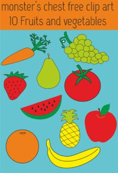 10 FRUIT AND VEGETABLES CLIP ART. STRAWBERRY, BANANA, APPLE, PEAR, PINEAPPLE, GRAPES, WATERMELON, ORANGE, CARROT AND TOMATO.CLIPART TO USE IN ALL YOUR EDUCATIONAL CREATIONS.PLEASE LEAVE A COMMENT IF YOU FIND IT USEFUL.  THANKS!!