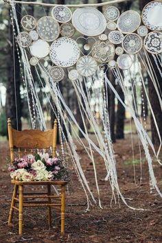 Peggy Saas // The Fremantle Creatives + Katya Katya Shehurina Woodland Photo Shoot / boho dream catcher wedding backdrop