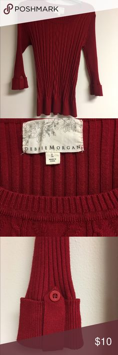 Debbie Morgan Red Cable Knit Sweater Large 3/4 Slv Pretty, Soft & very stretchy red sweater by Debbie Morgan, size Large, 3/4 sleeves with button accents. Great condition, only worn once. No holes, no stains, no flaws of any kind. Check my other items for bundles! I'll be listing about 200 items in the next week or so. I have entirely too many clothes and I'm running out of closet space! Time to consolidate and find new homes for all these pieces. Offering a 10% bundle discount on 3+ items…