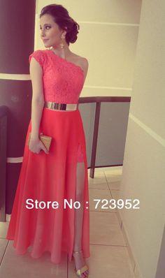 vestidos de color coral vestidos formales en el mejor vendedor de encaje un hombro ranura lateral cinturón de oro vestidos de fiesta por la noche fromal maxi vestidos