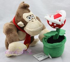2Pcs/Set Super Mario Bros Donkey Kong & Piranha Plant Flower Stuffed Plush Doll #Unbranded