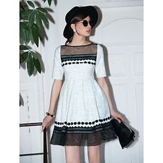 TS Vintage 3D Organza Hem Dress - USD $ 28.99