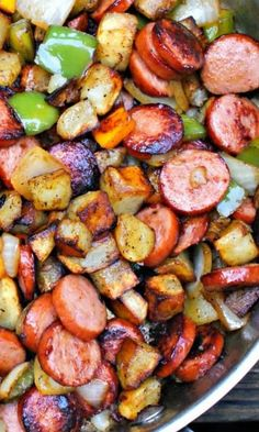 kielbasa pepper onion and potato hash.html
