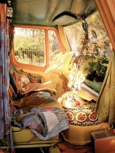 Bohemian on the road. * Never thought of implementing my home into the cab.  This is an awesome idea when living on wheels.