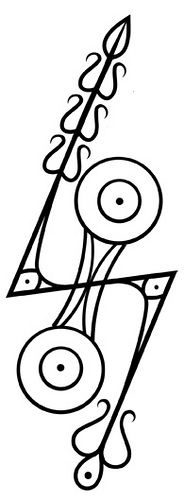 Double Disc Z Rod Pictish Symbol - This Pictish design is known as Double disc Z Rod, it's significance or meaning to the Picts is unknown, as the assimilation of Pictish Culture into Gaelic Scot culture caused oral knowledge and the Pictish language to be lost.
