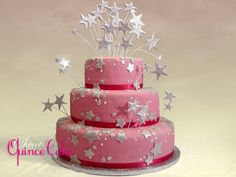 Quinceanera Cake with Pink Fondant and Star Accents_full.jpeg