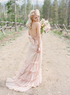 Pink BHLDN wedding dress