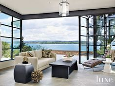 Contemporary Neutral Patio with Lake Views