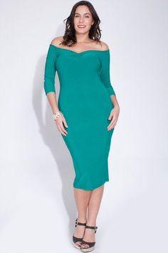 Sophisticated Lady of Glamour  Off the Shoulder sexy midi Dress #Symphony #StretchBodycon #LittleBlackDress