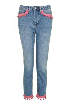 MOTO Pink Pom Straight Leg Jeans