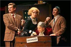 Charles Edwards, Jennifer Ferrin, Arnie Burton and Cliff Saunders in The 39 Steps. Helen Hayes Theatre. 2008