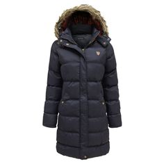 Brave Soul Women's Fur Hooded Quilted Padded Long Parka Jacket Coat at Amazon Women's Coats Shop