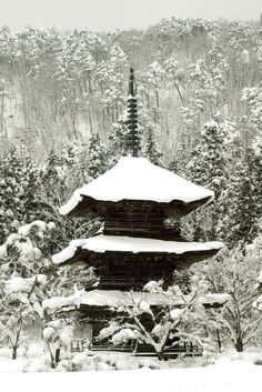 Japanese temple in winter