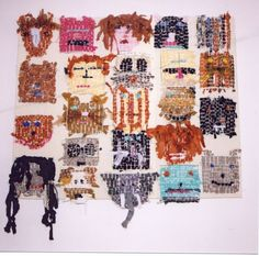 Primary School Year 3 textile project on Faces, some human, some animal.