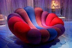 This chair design is an anemone armchair, designed by Giancarlo Zema with the inspiration of a colorful flower garden Affordable Furniture, Unique Furniture, Cheap Furniture, Shabby Chic Furniture, Furniture Ads, Furniture Online, Industrial Furniture, Furniture Design, Purple Furniture