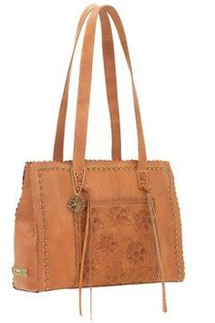 American West Flower Child Golden Tan Large Shopper Tote