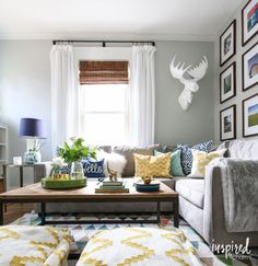 Summer Home Tour - love these colors for the living room - yellow, green, and blue