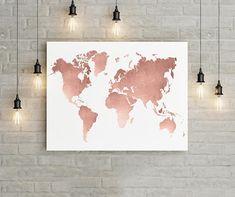 World Map Wall Art Rose Gold Print World Map Poster Rose