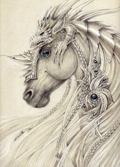Elven Horse ~by Anwaraidd Nahar The dragon on top is awesome armor! Fantasy Kunst, Fantasy Art, Unicorn Fantasy, Unicorn Horse, Fantasy Creatures, Mythical Creatures, Horse Drawings, Art Drawings, Fantasy Drawings