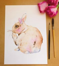 .... and here's number 3. I'll be listing the originals for sale tonight on Etsy if you are needing some watercolour bunnies in your life. 🐰💕