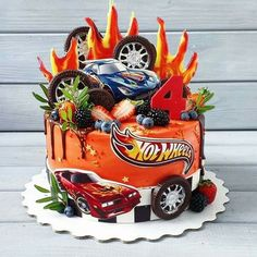 Hot Wheels Cake, Hot Wheels Party, Hot Wheels Birthday, Boy Birthday, Birthday Cake, Transformer Birthday, Novelty Cakes, Cakes For Boys, No Bake Cake