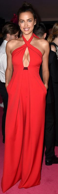 Who made Irina Shayk's red cut out gown?