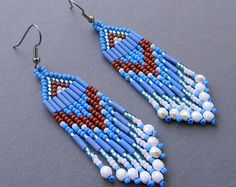 Seed bead earrings Dangle fringe earrings Beaded earrings Beadwoven earrings Seed bead jewelry Long bead earrings Blue earrings Beadwork