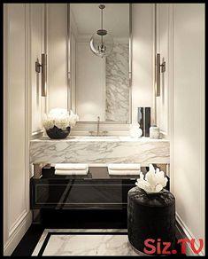43 Ideas Diy Bathroom Modern Powder Rooms For 2019 Design Salon, Salon Interior Design, Home Interior, Interior Modern, Luxury Bathroom Vanities, Bathroom Design Luxury, Bath Design, Tile Design, Design Art