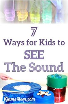 7 fun science experiments for kids to SEE the sound -- it is hard for kids to understand the concept that sound is wave, these activities make teaching easier. Kids can visually grasp the concept and learn science study skills. Fun STEM project ideas for Sound Science, Stem Science, Preschool Science, Elementary Science, Science Classroom, Science Fair, Science Lessons, Teaching Science, Science For Kids