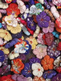 Tiny quilted fabric flowers at Kitano Tenmangu Shrine flea market, Kyoto